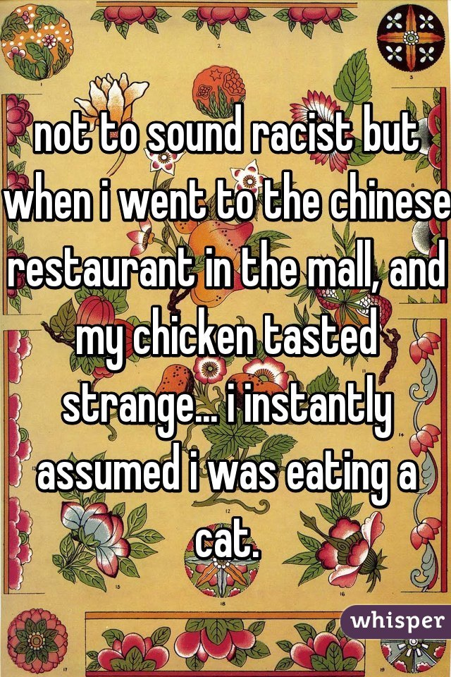 not to sound racist but when i went to the chinese restaurant in the mall, and my chicken tasted strange... i instantly assumed i was eating a cat.