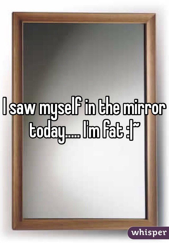 I saw myself in the mirror today..... I'm fat :|~