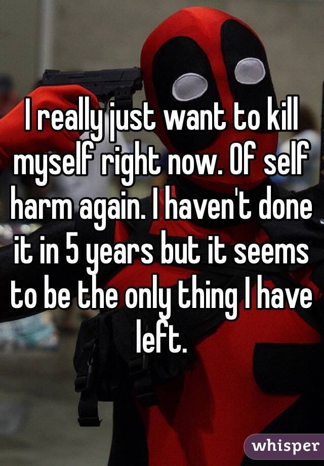 I really just want to kill myself right now. Of self harm again. I haven't done it in 5 years but it seems to be the only thing I have left.