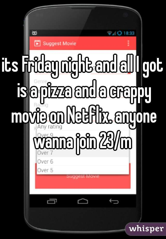 its Friday night and all I got is a pizza and a crappy movie on Netflix. anyone wanna join 23/m