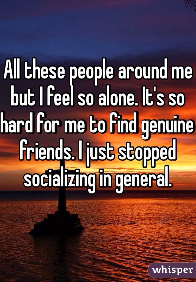 All these people around me but I feel so alone. It's so hard for me to find genuine friends. I just stopped socializing in general.