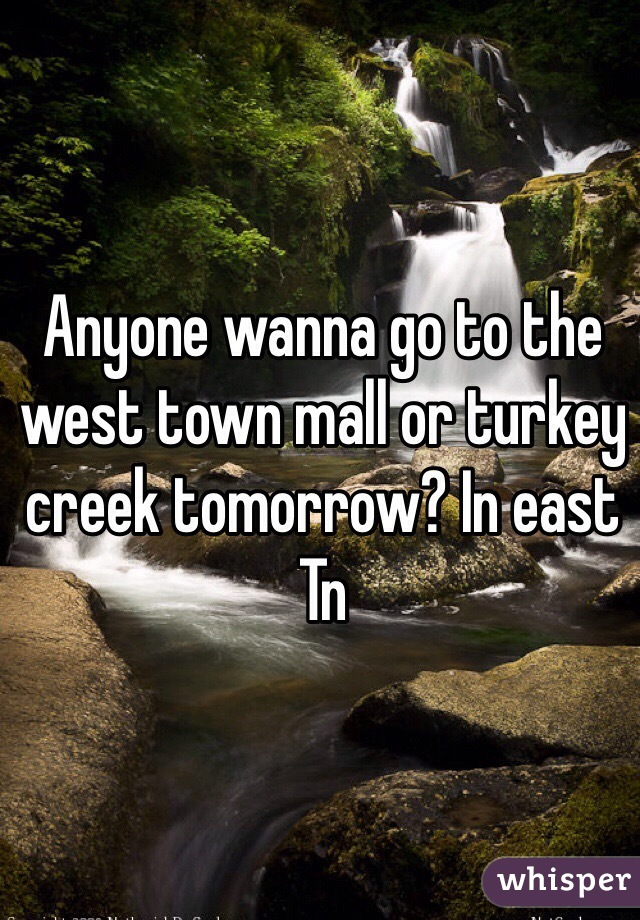 Anyone wanna go to the west town mall or turkey creek tomorrow? In east Tn