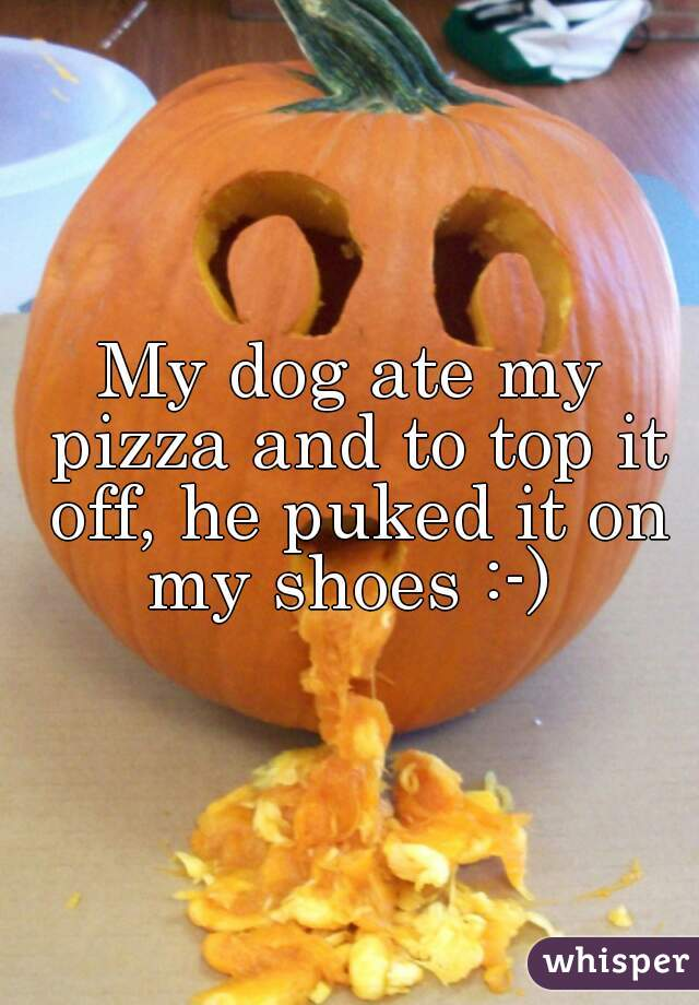 My dog ate my pizza and to top it off, he puked it on my shoes :-)