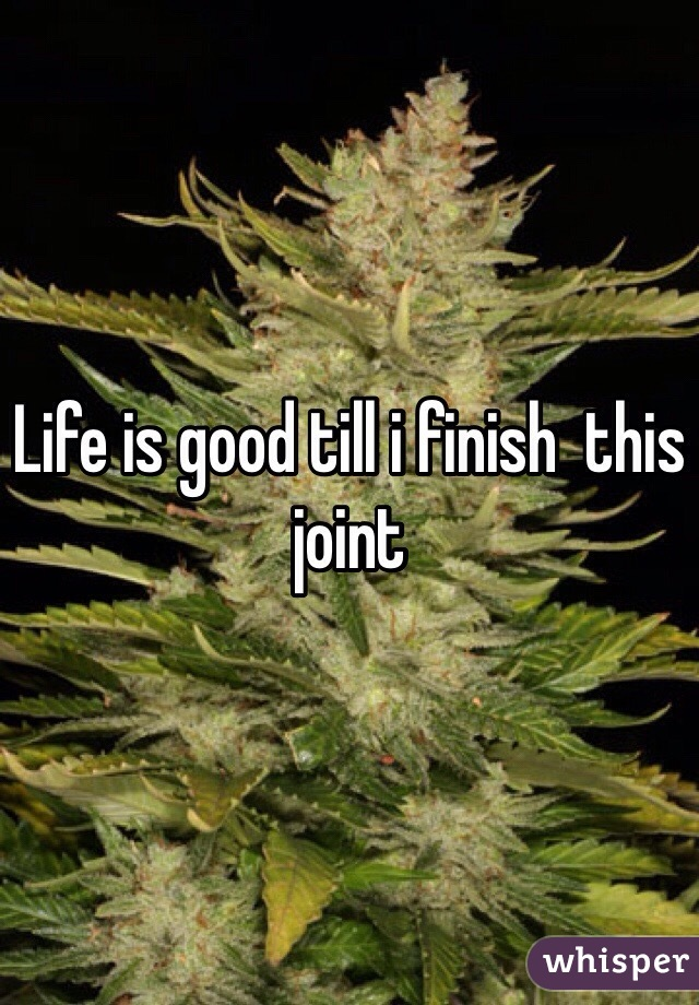 Life is good till i finish  this joint
