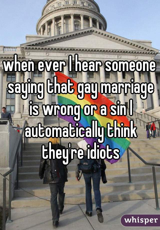 when ever I hear someone saying that gay marriage is wrong or a sin I automatically think they're idiots