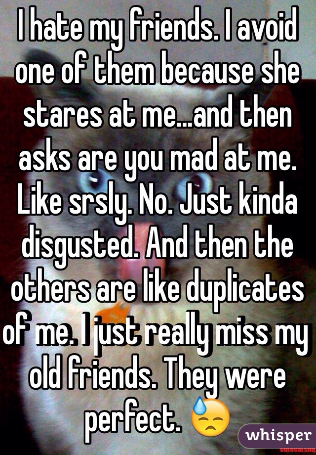 I hate my friends. I avoid one of them because she stares at me...and then asks are you mad at me. Like srsly. No. Just kinda disgusted. And then the others are like duplicates of me. I just really miss my old friends. They were perfect. 😓