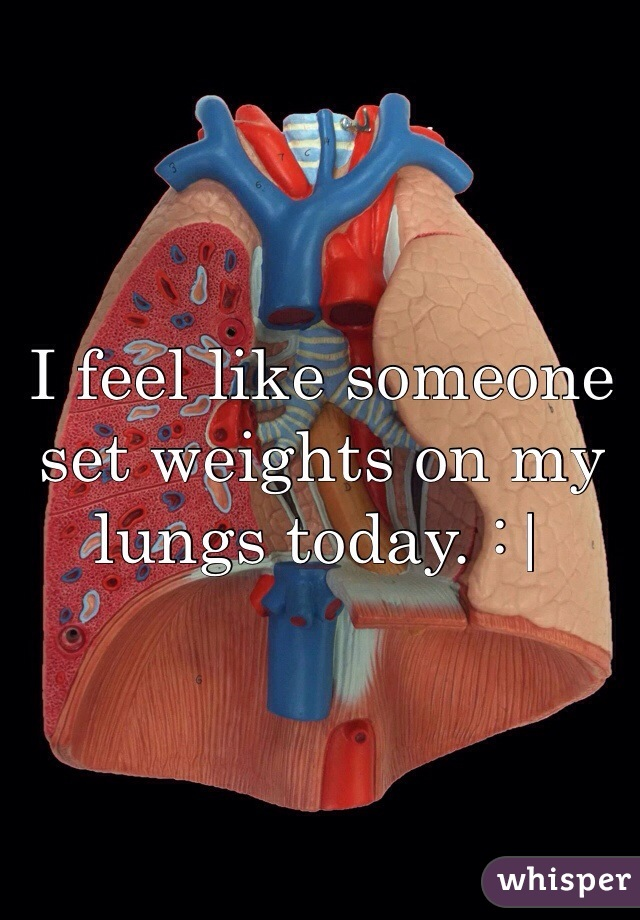 I feel like someone set weights on my lungs today. :|