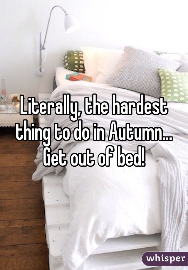 Literally, the hardest thing to do in Autumn... Get out of bed!