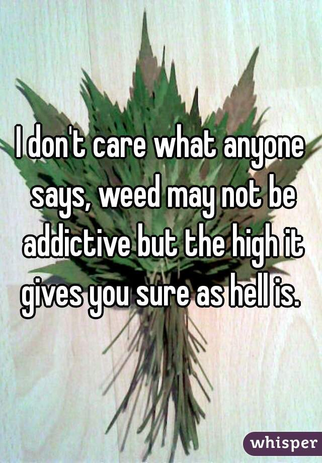 I don't care what anyone says, weed may not be addictive but the high it gives you sure as hell is.