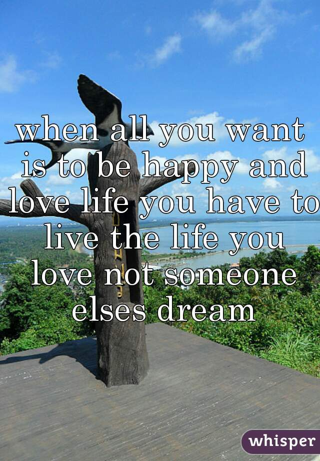 when all you want is to be happy and love life you have to live the life you love not someone elses dream
