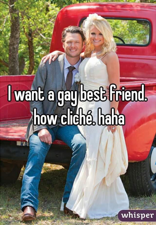 I want a gay best friend. how cliché. haha