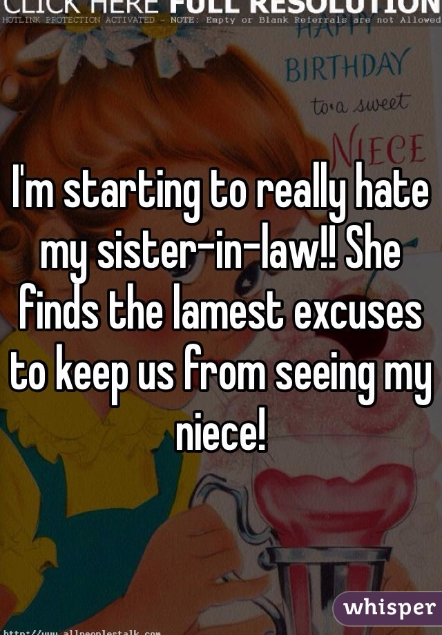 I'm starting to really hate my sister-in-law!! She finds the lamest excuses to keep us from seeing my niece!