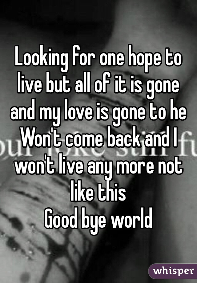 Looking for one hope to live but all of it is gone and my love is gone to he Won't come back and I won't live any more not like this  Good bye world