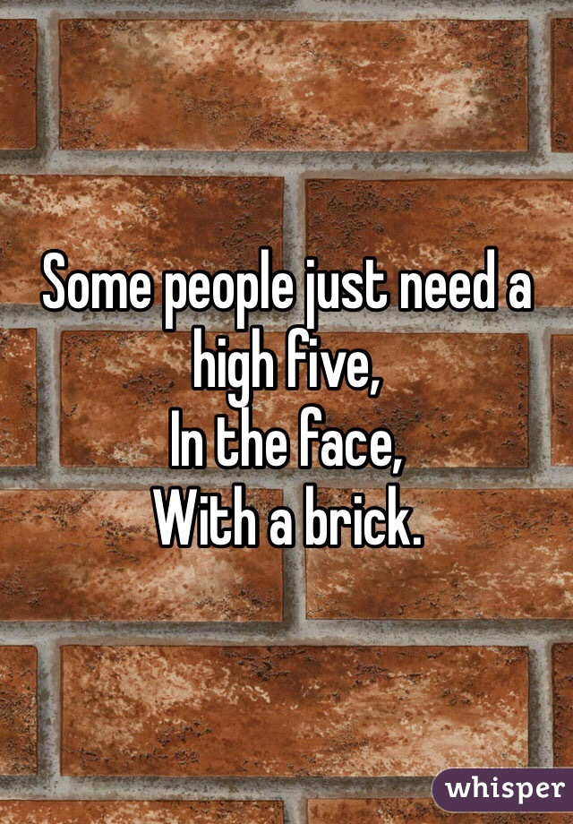 Some people just need a high five, In the face, With a brick.