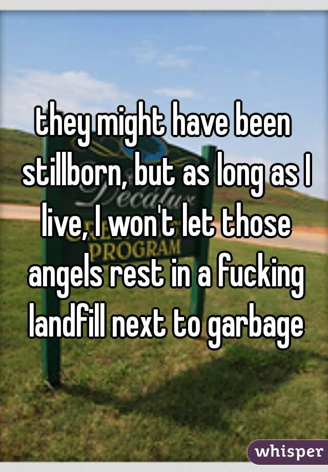 they might have been stillborn, but as long as I live, I won't let those angels rest in a fucking landfill next to garbage