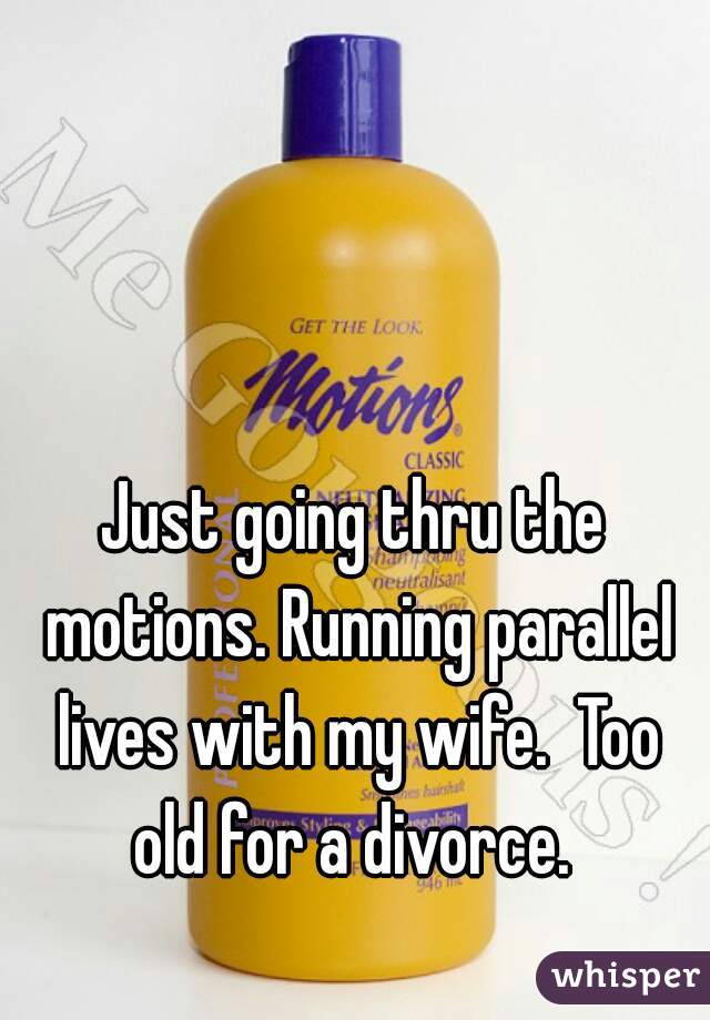 Just going thru the motions. Running parallel lives with my wife.  Too old for a divorce.