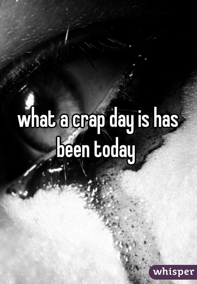 what a crap day is has been today