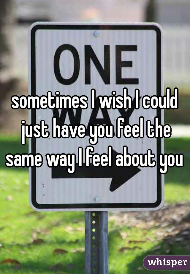 sometimes I wish I could just have you feel the same way I feel about you
