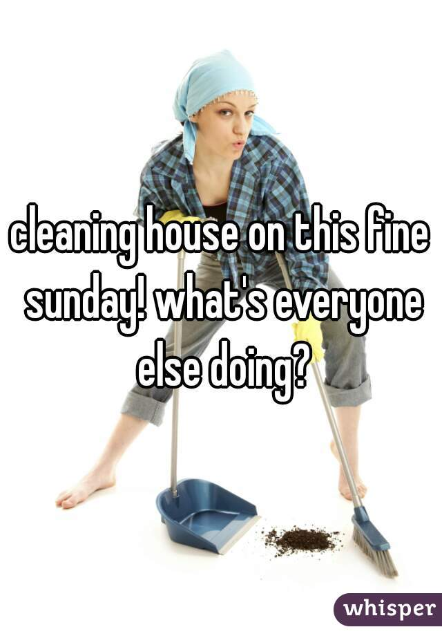 cleaning house on this fine sunday! what's everyone else doing?