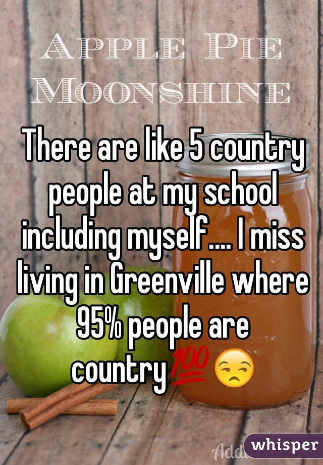 There are like 5 country people at my school including myself.... I miss living in Greenville where 95% people are country💯😒