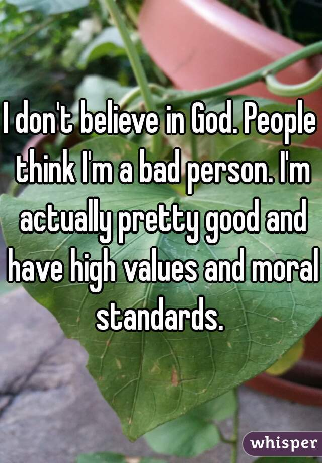 I don't believe in God. People think I'm a bad person. I'm actually pretty good and have high values and moral standards.