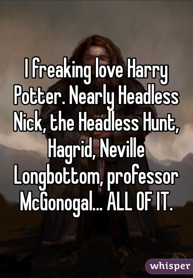 I freaking love Harry Potter. Nearly Headless Nick, the Headless Hunt, Hagrid, Neville Longbottom, professor McGonogal... ALL OF IT.
