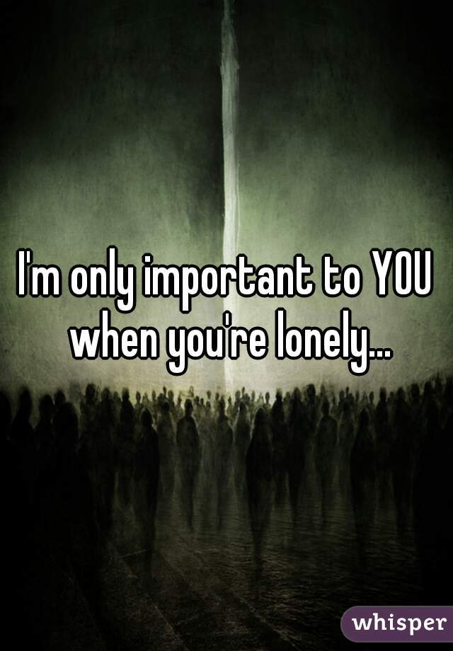 I'm only important to YOU when you're lonely...