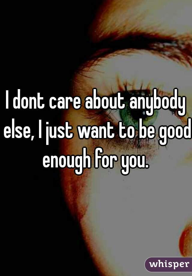 I dont care about anybody else, I just want to be good enough for you.