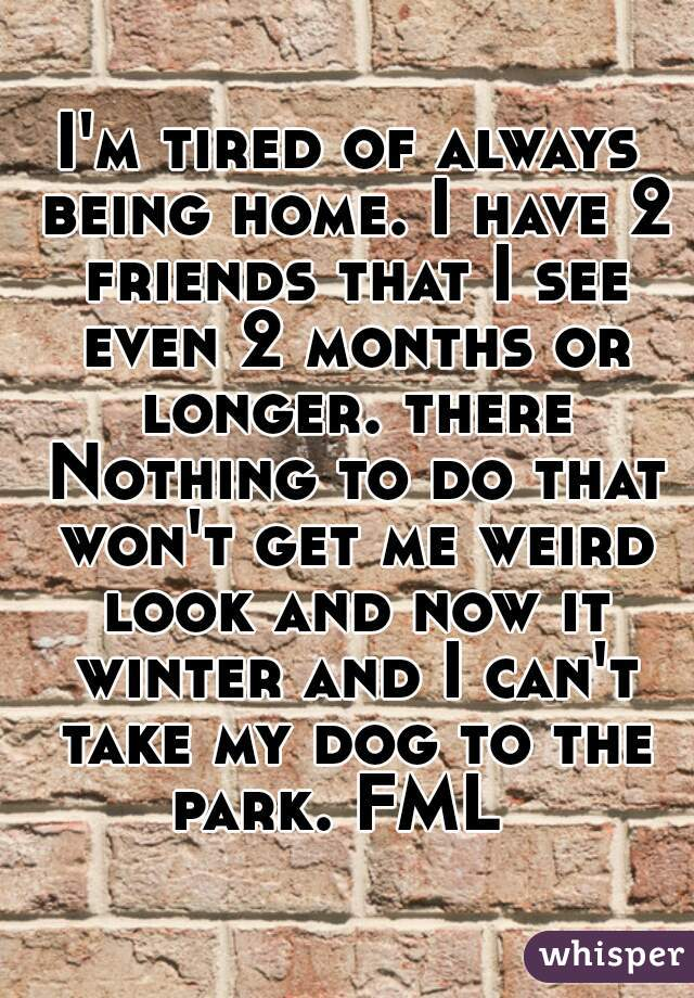 I'm tired of always being home. I have 2 friends that I see even 2 months or longer. there Nothing to do that won't get me weird look and now it winter and I can't take my dog to the park. FML