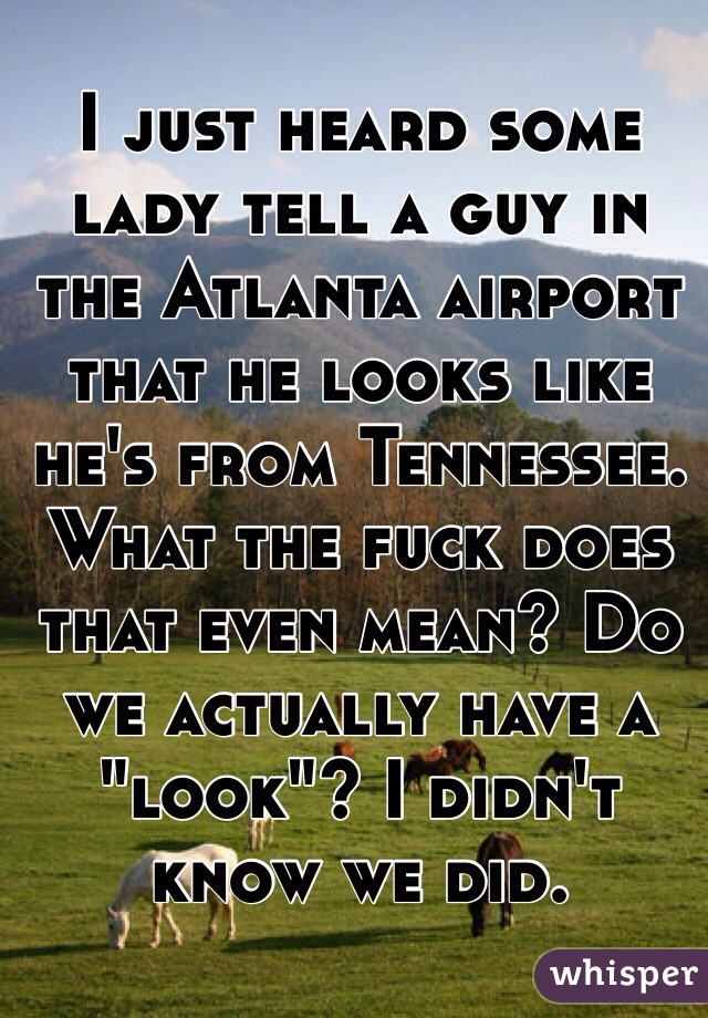 "I just heard some lady tell a guy in the Atlanta airport that he looks like he's from Tennessee. What the fuck does that even mean? Do we actually have a ""look""? I didn't know we did."