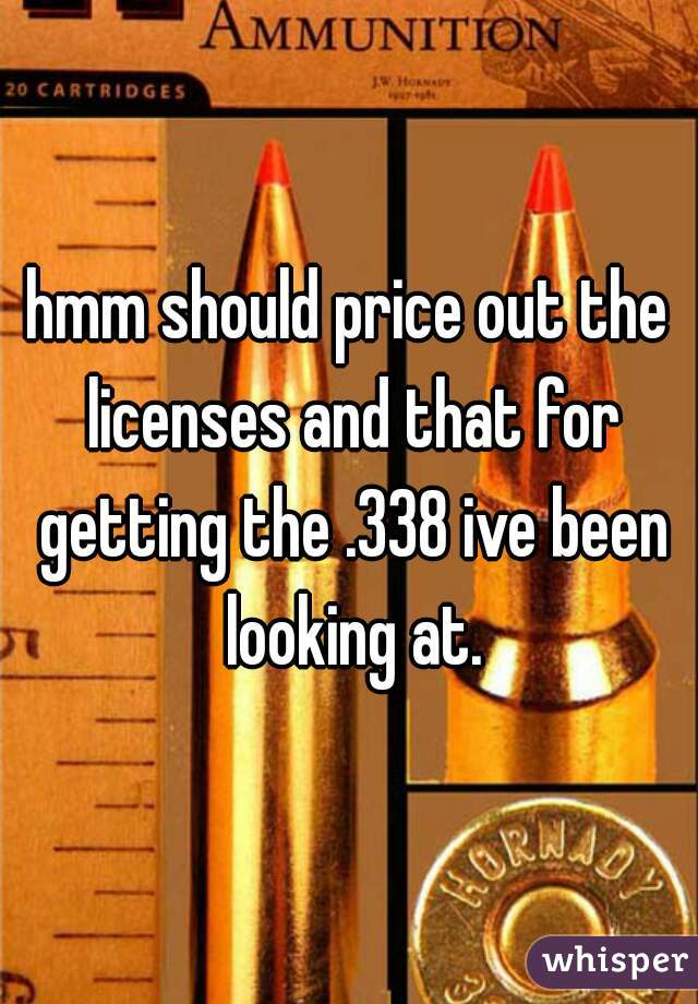 hmm should price out the licenses and that for getting the .338 ive been looking at.