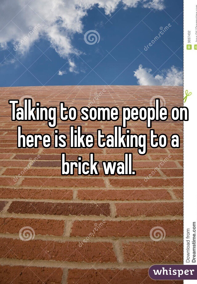 Talking to some people on here is like talking to a brick wall.