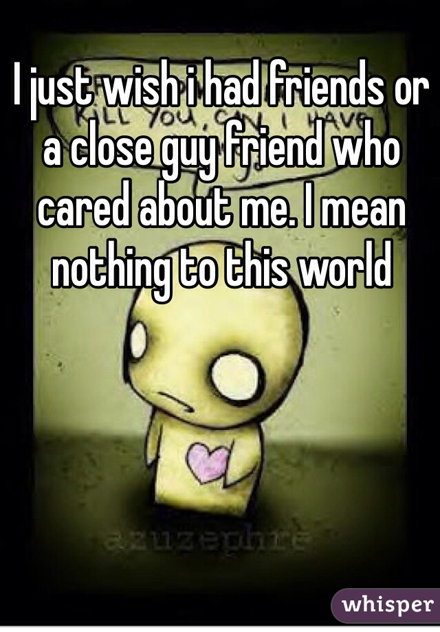 I just wish i had friends or a close guy friend who cared about me. I mean nothing to this world