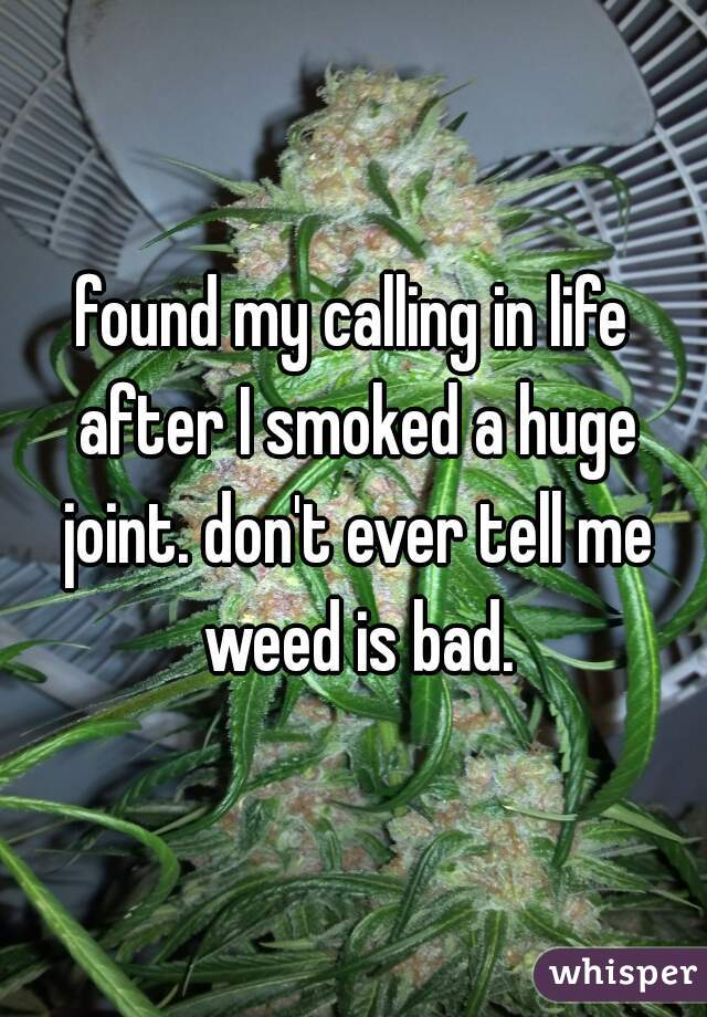 found my calling in life after I smoked a huge joint. don't ever tell me weed is bad.