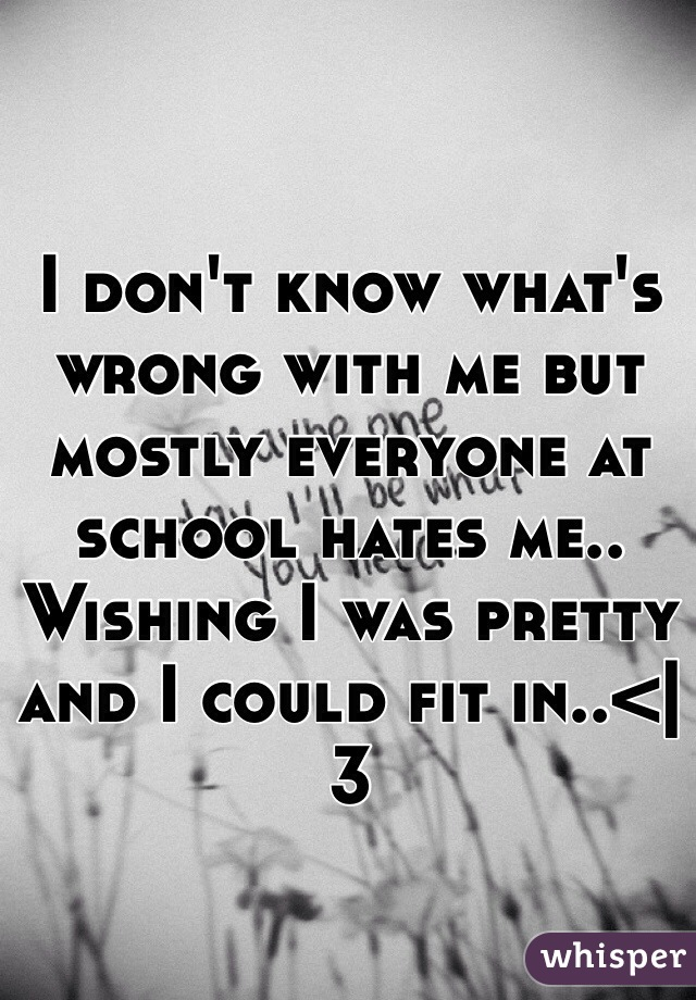 I don't know what's wrong with me but mostly everyone at school hates me.. Wishing I was pretty and I could fit in..<|3