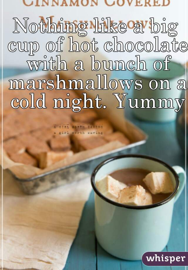 Nothing like a big cup of hot chocolate with a bunch of marshmallows on a cold night. Yummy