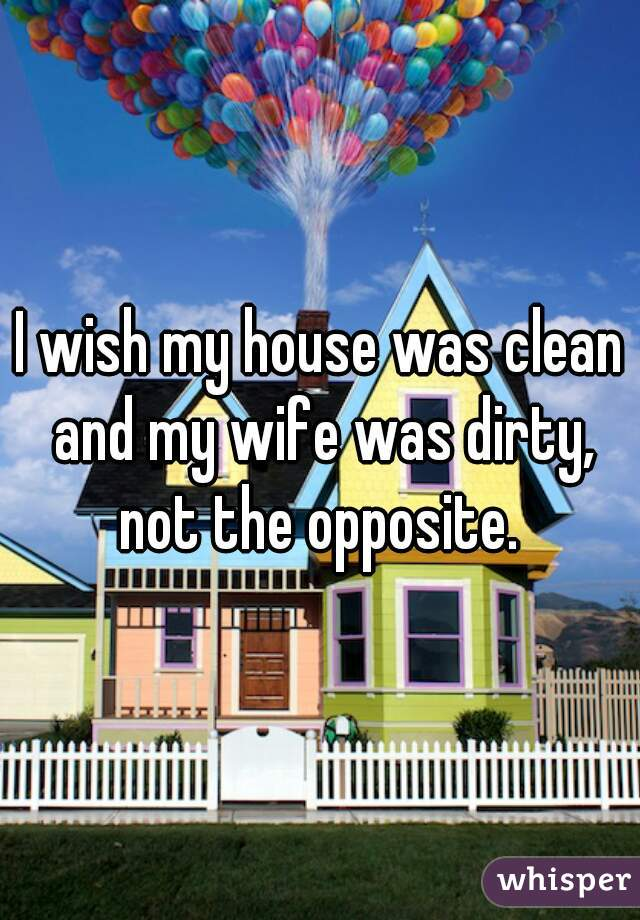 I wish my house was clean and my wife was dirty, not the opposite.