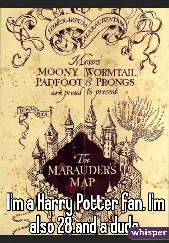 I'm a Harry Potter fan. I'm also 28.and a dude.