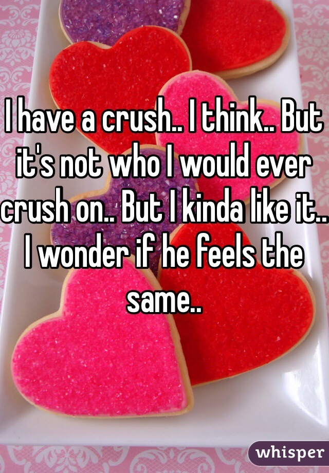I have a crush.. I think.. But it's not who I would ever crush on.. But I kinda like it.. I wonder if he feels the same..