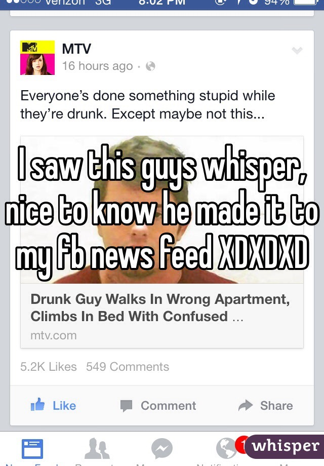 I saw this guys whisper, nice to know he made it to my fb news feed XDXDXD