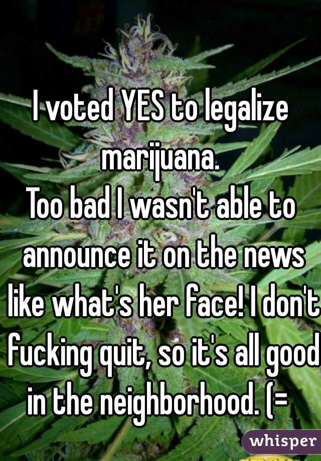 I voted YES to legalize marijuana.  Too bad I wasn't able to announce it on the news like what's her face! I don't fucking quit, so it's all good in the neighborhood. (=