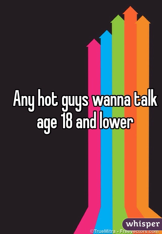 Any hot guys wanna talk age 18 and lower