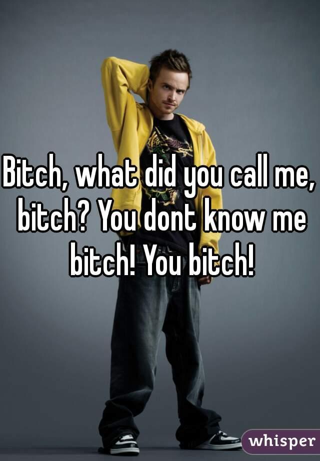 Bitch, what did you call me, bitch? You dont know me bitch! You bitch!
