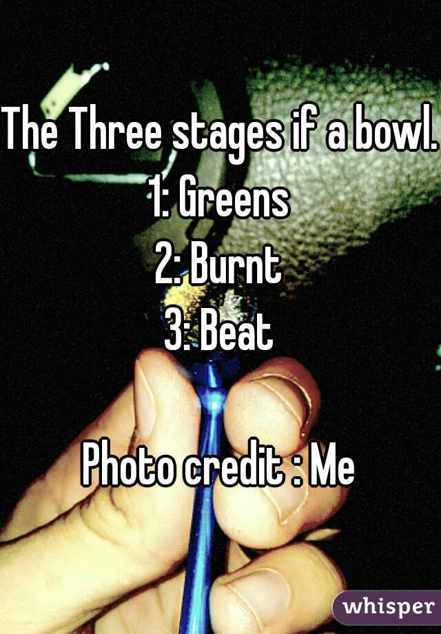 The Three stages if a bowl. 1: Greens 2: Burnt 3: Beat  Photo credit : Me