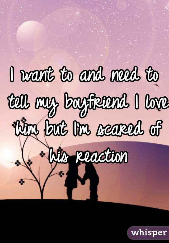 I want to and need to tell my boyfriend I love him but I'm scared of his reaction