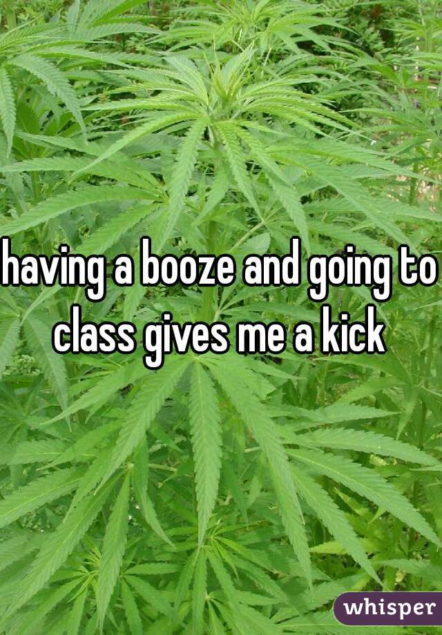having a booze and going to class gives me a kick