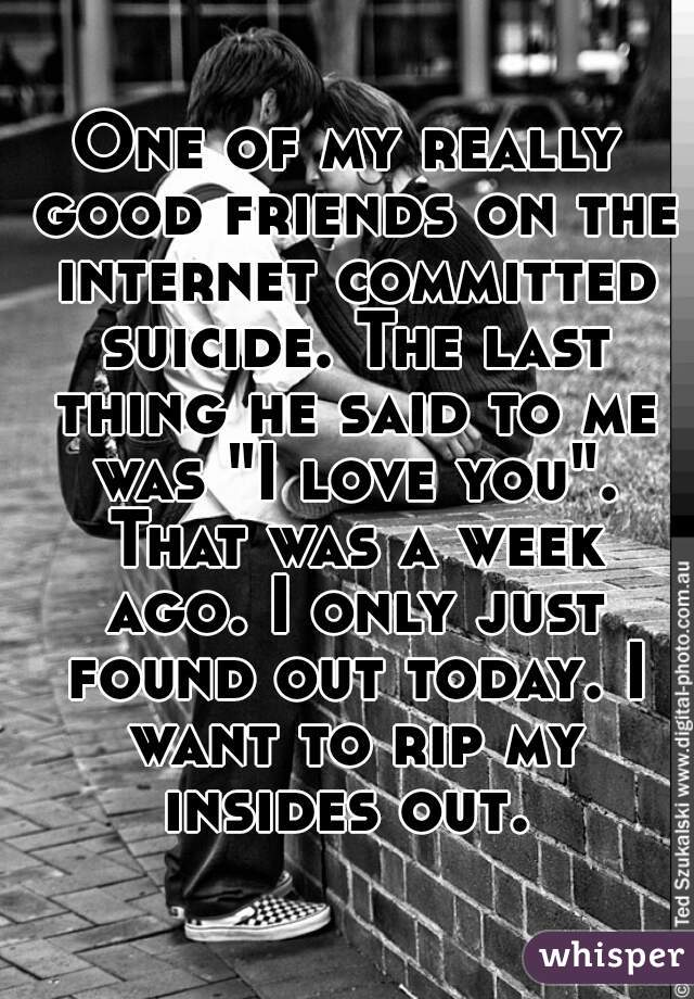 "One of my really good friends on the internet committed suicide. The last thing he said to me was ""I love you"". That was a week ago. I only just found out today. I want to rip my insides out."