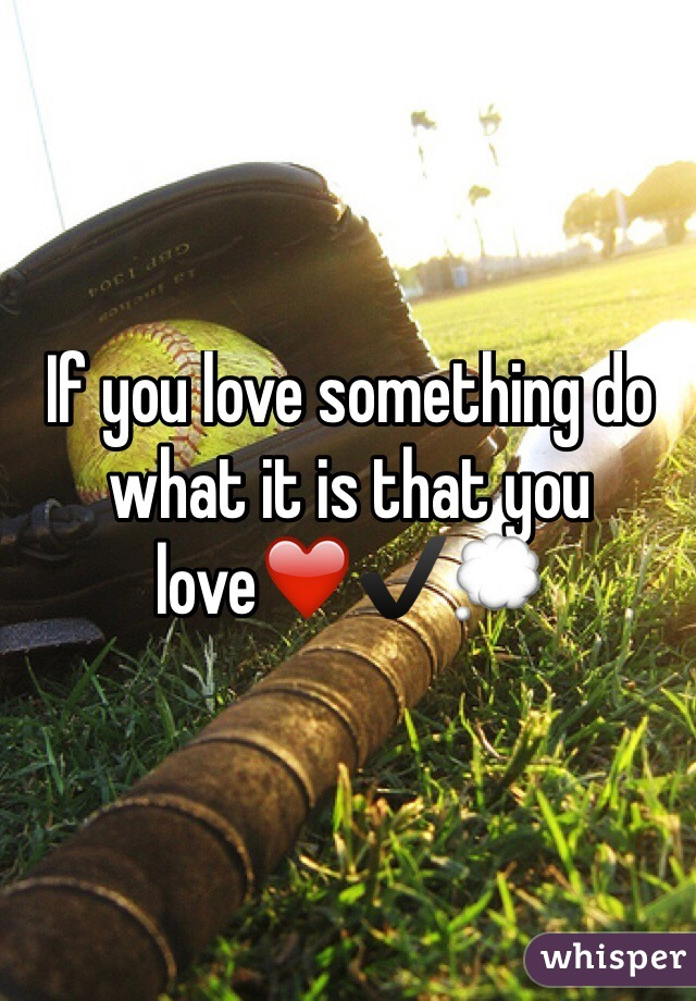 If you love something do what it is that you love❤️✔️💭