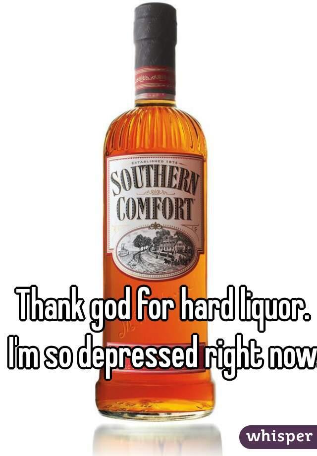 Thank god for hard liquor. I'm so depressed right now.