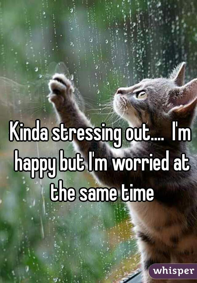 Kinda stressing out....  I'm happy but I'm worried at the same time